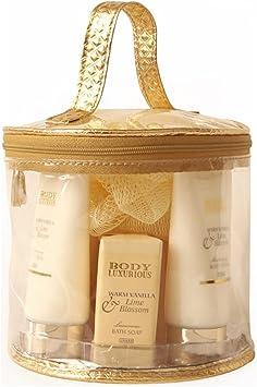 Gloss! Body Luxurious - Estuche de Baño para Mujeres - Bolso Redondo Transparente - Set de Baño - 7 pzs: Amazon.es: Belleza