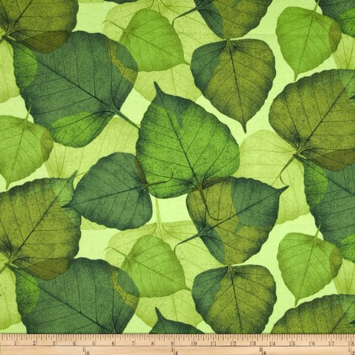 Timeless Treasures Poppies Large Leaf Green Fabric By The Yard