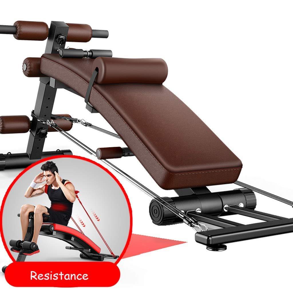 JJL 円弧形に座るベンチAbベンチクランチボード傾斜ボード調色および筋力トレーニングのための調整可能なトレーニング機器 褐色