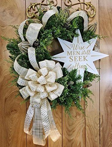 Handmade Wise Men Still Seek Him Wreath, Christmas Star of Bethlehem, Cedar Pine Cones, Large Cream Gold Champagne Bow, Glittered Finials, Grapevine