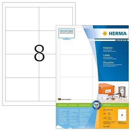 Herma 4624 Universal Etiketten 96 5 X 67 7 Mm Weiß 1 600 Klebeetiketten 200 Blatt Premium Din A4 Papier Matt Bedruckbar Selbstklebend