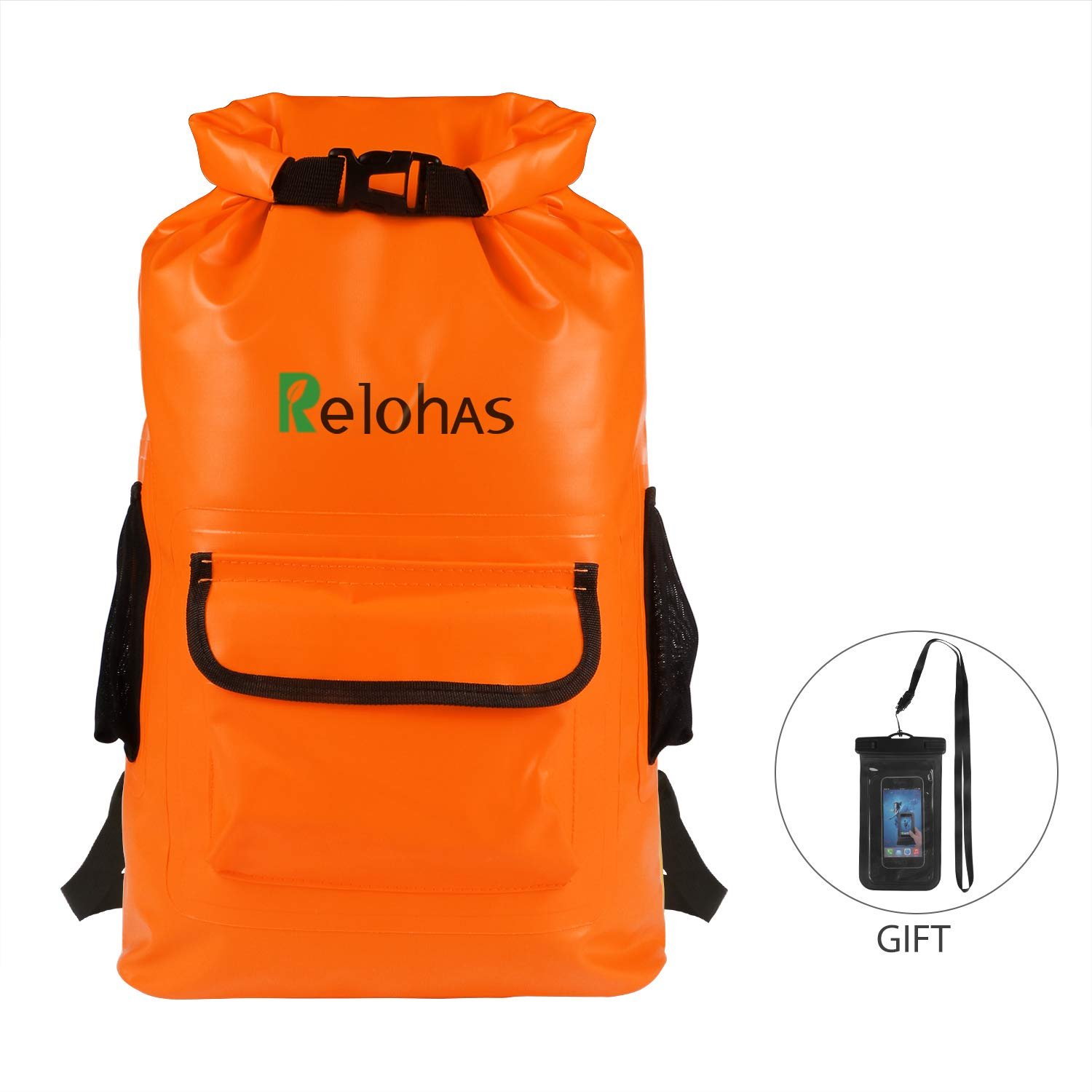Waterproof Dry Bag, Relohas 22L Lightweight Dry Sack with Front Pocket and 2 Side Mesh Pockets Keep Gear Dry for Hiking, Camping, Rafting, Boating, Kayaking and Fishing(Waterproof Phone Case Bonus) Colohas