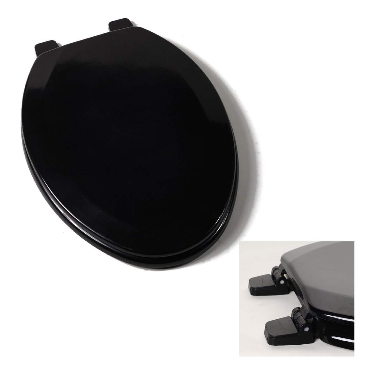 Deluxe Black Wood Elongated Toilet Seat