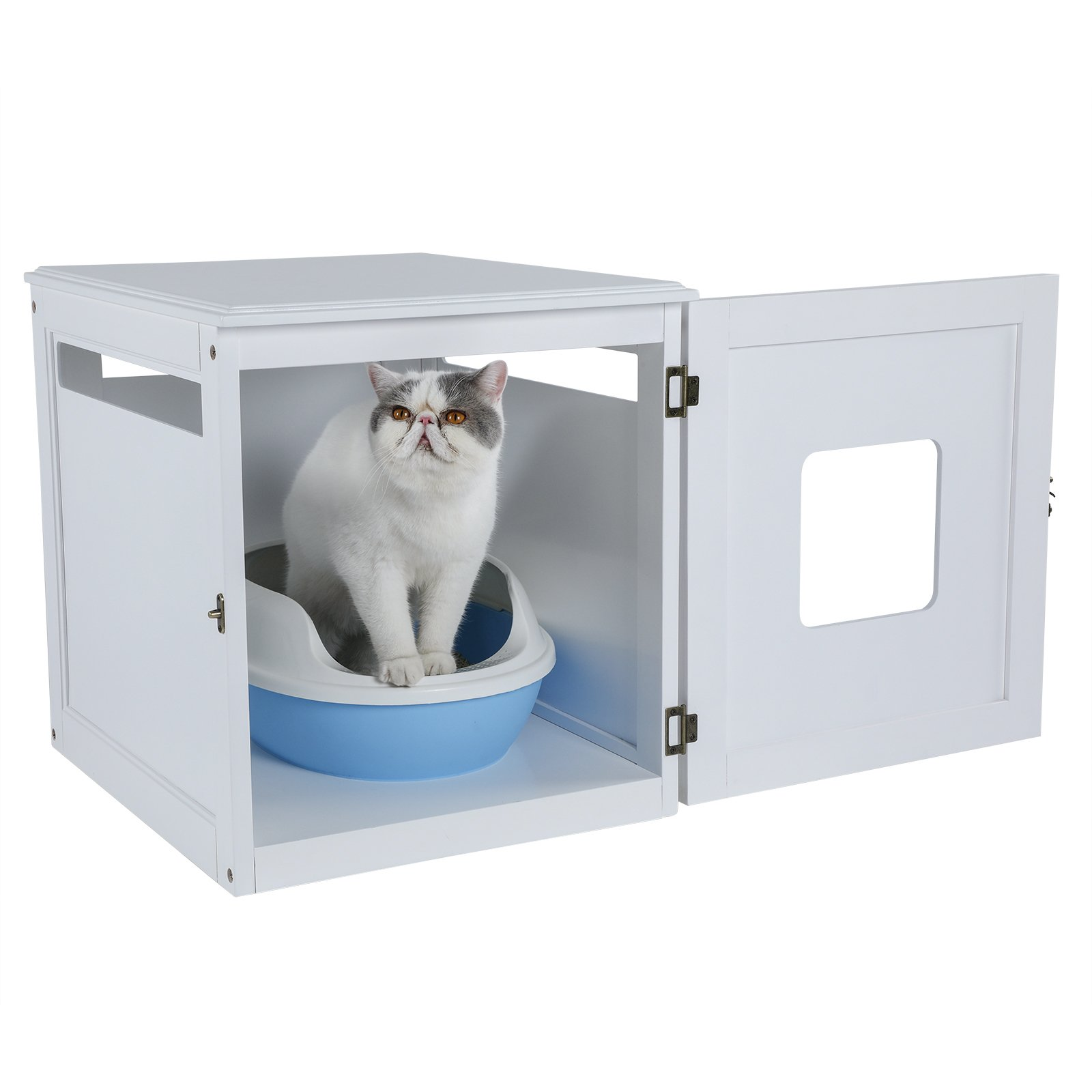 Petsfit Assemble Odorless Night Stand Pet House/Litter Box Furniture with Latch Holding 20'' x 24'' x 21''