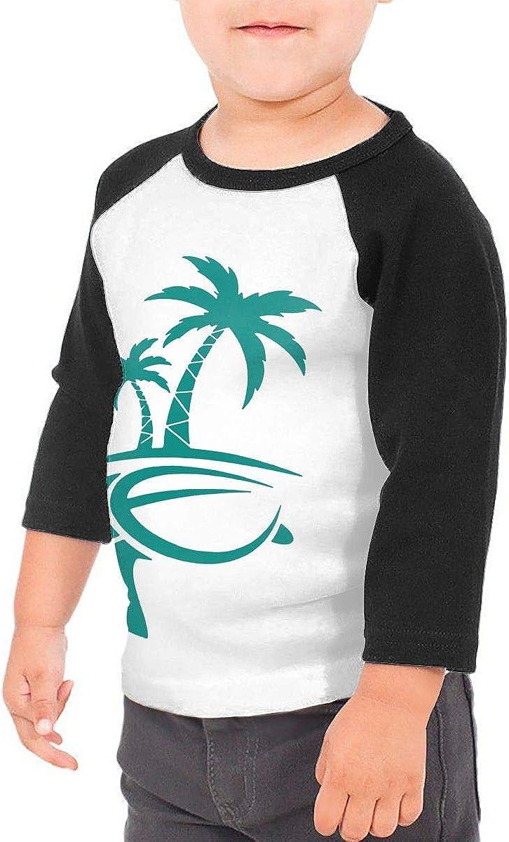 Hawaiian Palm Tree and Sea Turtle Kids Jersey Raglan T-Shirt Children 3//4 Sleeve Baseball Shirt Top