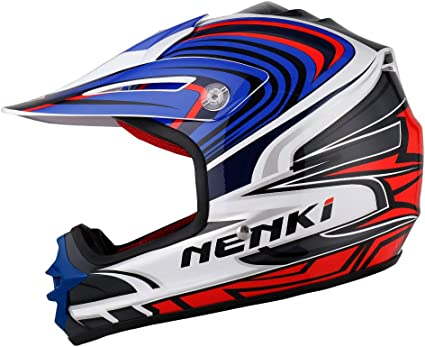 NENKI NK-303 Casque de Moto Tout-Terrain pour Enfants,ECE Homologu/é Noir Bleu, XXS 51-52CM