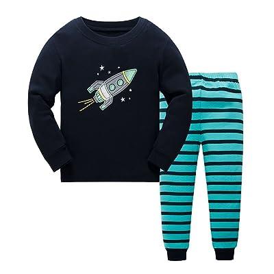 6b077ce06cd Boy Pajamas Cartoon Rocket Childrens Pjs Kid Rib Long Sleeves Cotton  Clothes Set