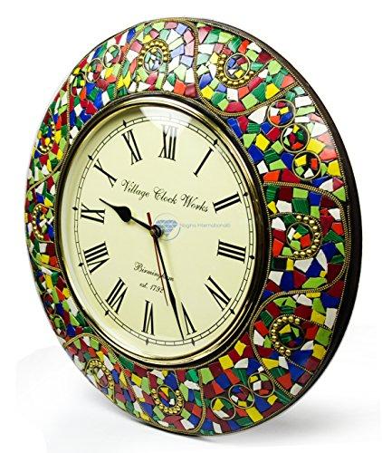 Colorful Marble Chunks Embedded Premium Handmade Nautical Time's Wall Decor Clock | Nagina International (Android Green)