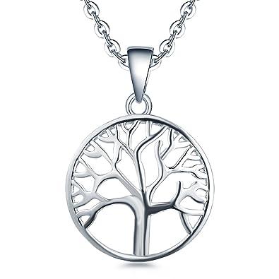 YL Lebensbaum Kette Damen-925 Sterling Silber Halskette Stammbaum Anhänger  Kette Weihnachtsgeschenke für Frauen Mädchen Mutter, Kettenlänge 45-50 cm   ... 5cbb4fedb3