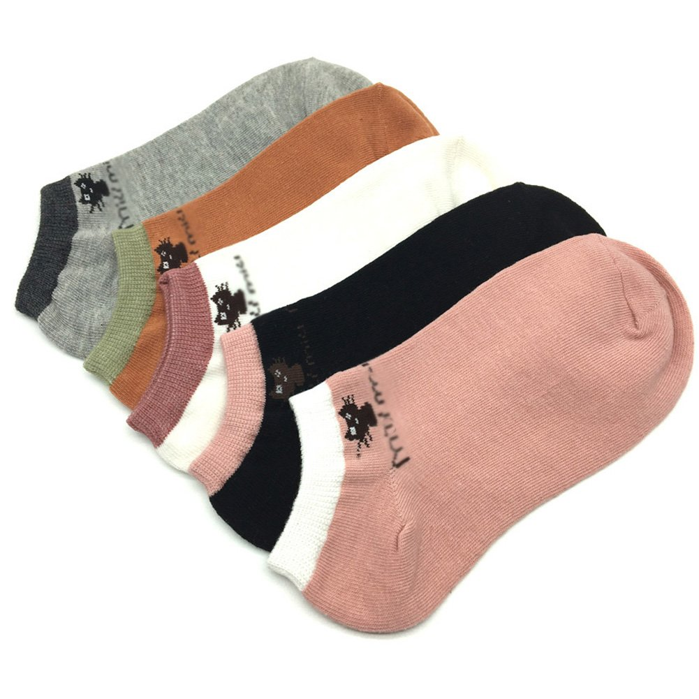Sumery Su Cotton Socks Women Casual Fashion Cat Pattern Short Ankle Socks 5 Pairs//Lot