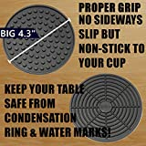 Enkore Bar Set Accessories - Large Coasters 8 Pack, Deluxe Stainless Steel Holder, No Spills Best Container for Whisky Tools, Wine and Champagne Glasses - Stylish Drink Decor, Housewarming Gifts