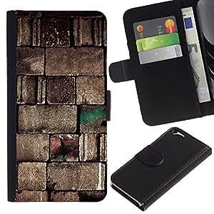 Planetar® Modelo colorido cuero carpeta tirón caso cubierta piel Holster Funda protección Para Apple Apple (4.7 inches!!!) iPhone 6 / 6S ( Pared de piedra Bloques Diseño Arte Arquitectura )