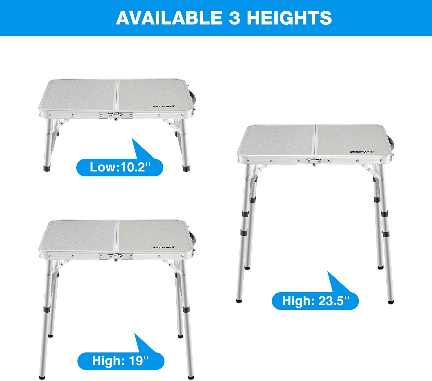 REDCAMP Folding Camping Table Portable Adjustable Height Lightweight Aluminum Folding Table for Outdoor Picnic Cooking White 2//3//4 Foot