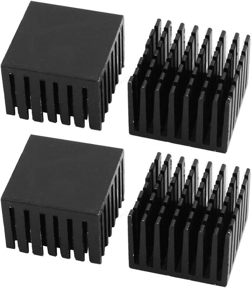 NA 4Pcs 28mm x 28mm x 20mm Aluminum heatsink Heat Diffuse Cooling fin Black