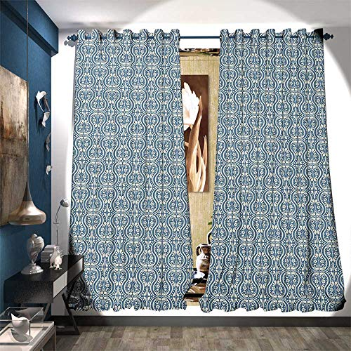 Window Curtain Drape Symmetrical Ancient Flowers and Curls Wavy Lines Old Ornamental Curves Tile Decor Curtains by W72 x L84 Slate Blue Ivory