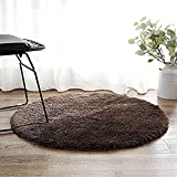 LeeVan Contemporary Plush Area Rug Super-Soft Microfiber Non-slip Rubber Backing Shaggy Round Rugs Floor Mat Shag Rug (4 ft, Brown) Review