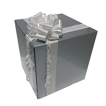 Caja de regalo original envoltorio para regalo box cubo regalo gris plastificado brillante