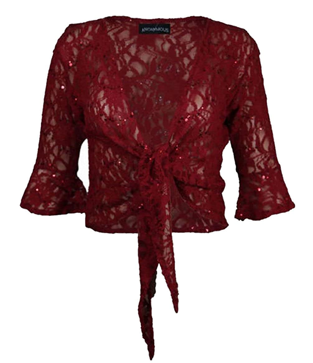 WOMENS PLUS SIZE GLILTTER SEQUIN 3/4 SLEEVE BOLERO TIE UP SHRUG CARDIGAN RIDDLED WITH STYLE