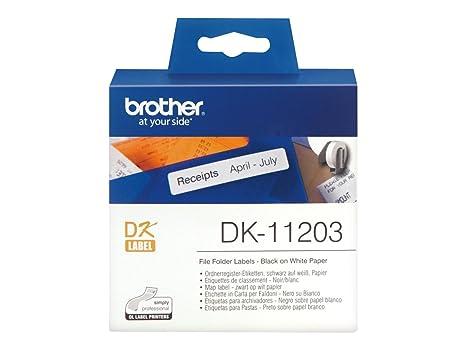 Brother DK-11203 - Etiquetas para carpetas de archivo, color negro y blanco