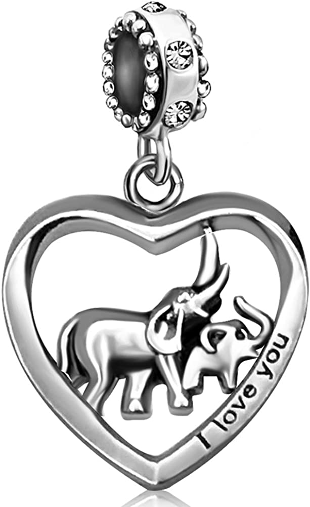 JMQJewelry Elephant Mother Heart Love Baby Child Birthstone Dangle Charms for Bracelets Mom Dad Gifts