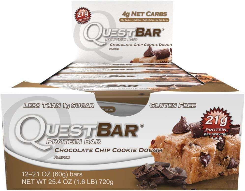 Quest Nutrition Bar, Chocolate Chip Cookie Dough, 12 Count,(720g)