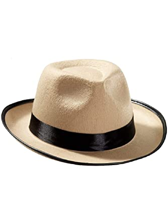214d3b4d1618a Amazon.com  New Beige Black Felt Pimp Gangsta Costume Party Fedora Hat   Clothing