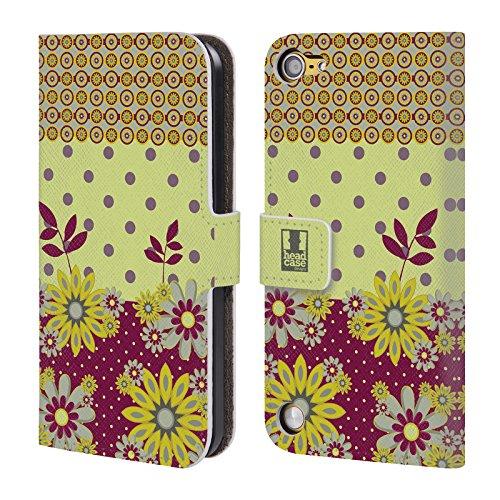 Head Case Designs Giallo Marrone Punti Floreali Cover a portafoglio in pelle per iPod Touch 5th Gen / 6th Gen