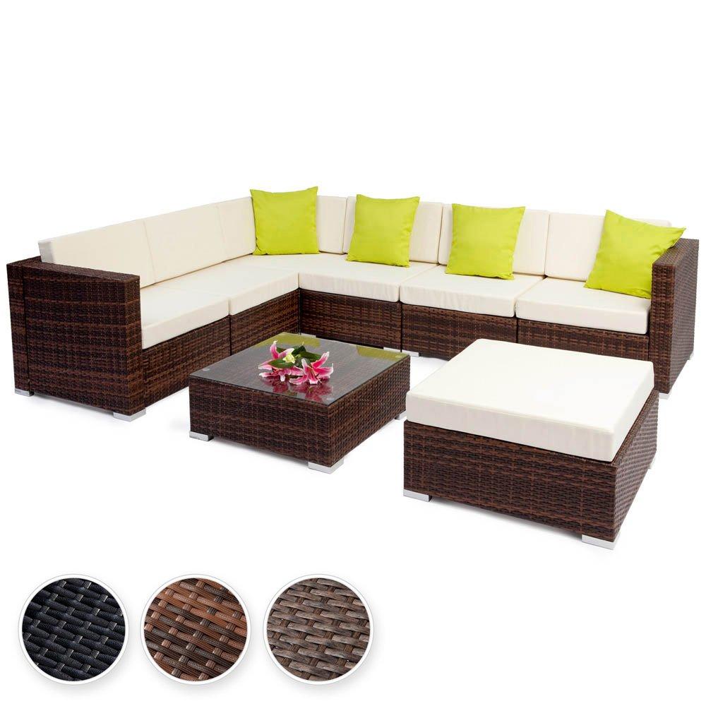 TecTake Hochwertige Aluminium Polyrattan Lounge Sitzgruppe mit Glastisch inkl. Kissen und Klemmen - diverse Farben - (Mixed Braun | Nr. 401816)