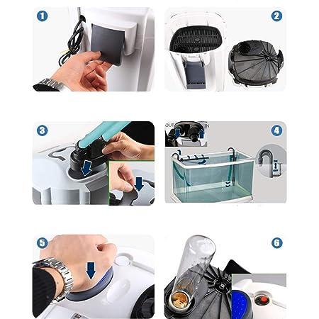 LIFUREN Filtro de pecera Tanque Externo Silencio actualización Super Filtro con lámpara germicida algodón de Filtro (Color : 1PCS, Tamaño : 2000L/H): ...