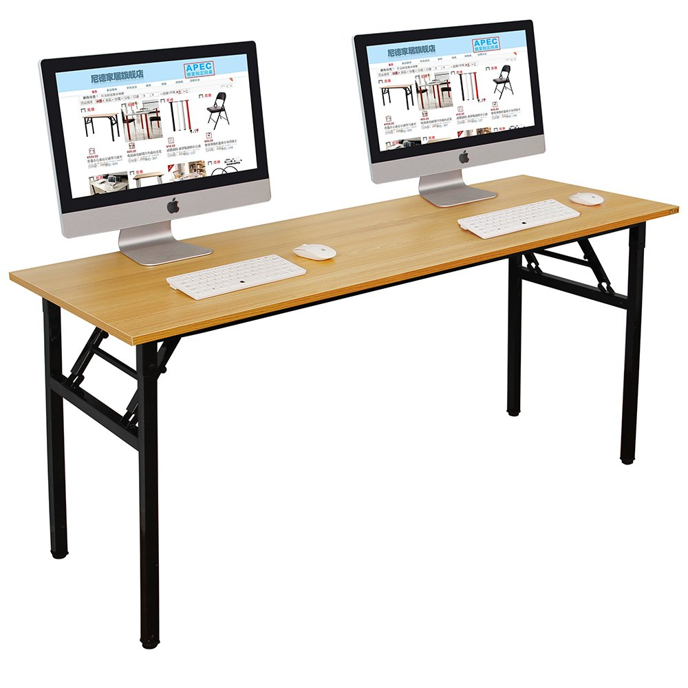 Need Computer Desk Office Desk 63'' Folding Table with BIFMA Certification Computer Table Workstation No Install Needed, Teak