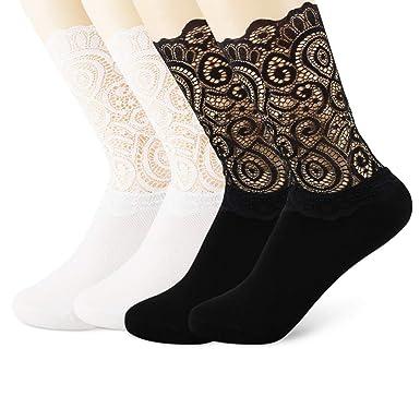 cd4be753ce1ca (2足セット黒白) ベビー用 キッズ 女の子 大人 綿 靴下 ハイソックス レース付き