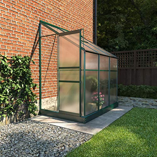 BillyOh Polycarbonate Aluminium Metal Frame Lean-To Greenhouse Green (4ft x 6ft)