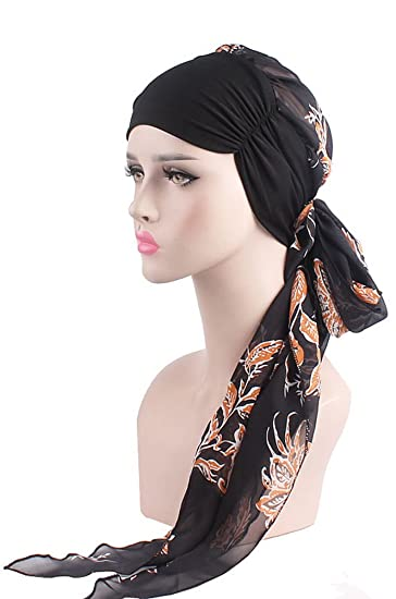 BOGIWELL Chemo Headwear Turbans for Women Long Hair Head Scarf Headwraps  Cancer Hats Black Orange 9e6435dfee0