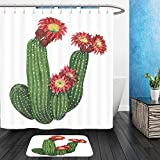 Vanfan Bathroom 2?Suits 1 Shower Curtains & ?1 Floor Mats blooming echinopsis cactus with red flowers isolated on white 458387920 From Bath room