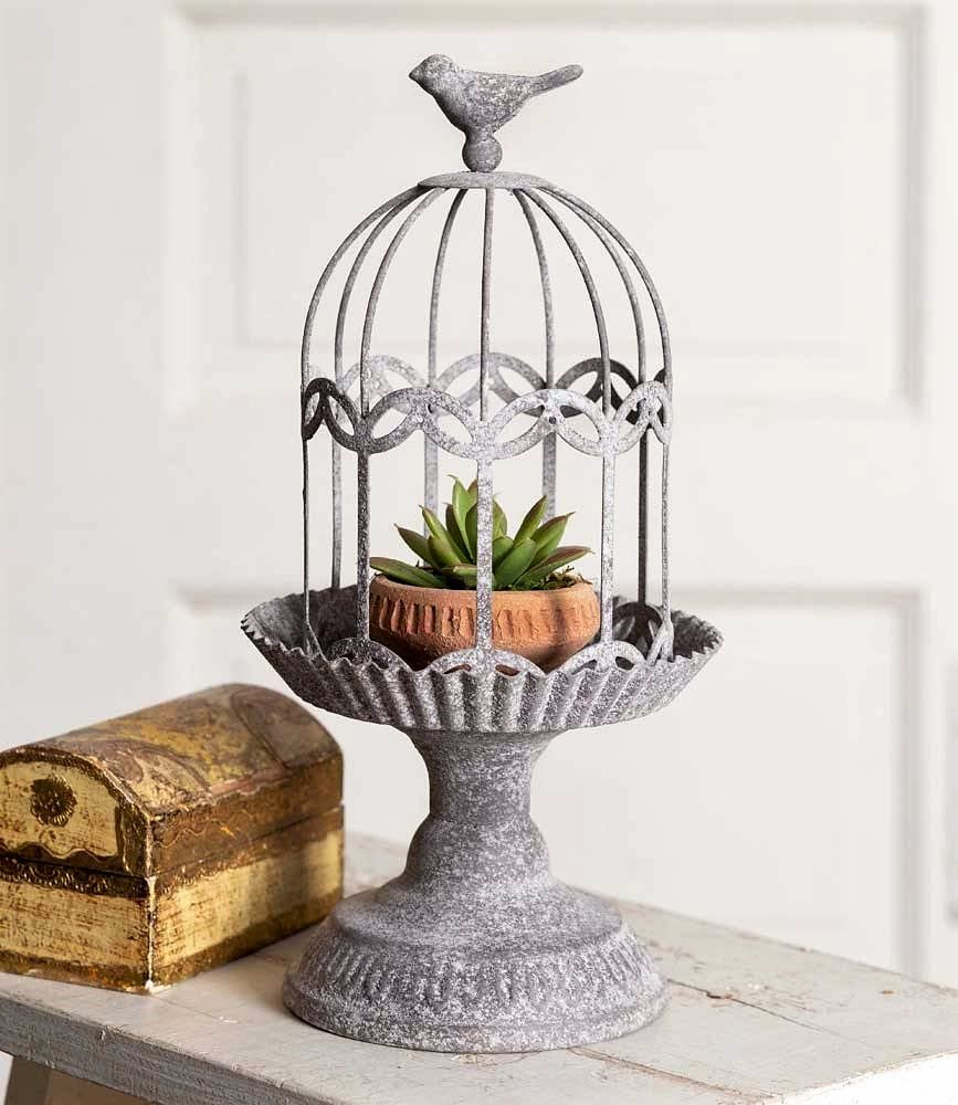 Vintage Style Rustic Metal Song Bird Gazebo Cage Cloche Home Decor