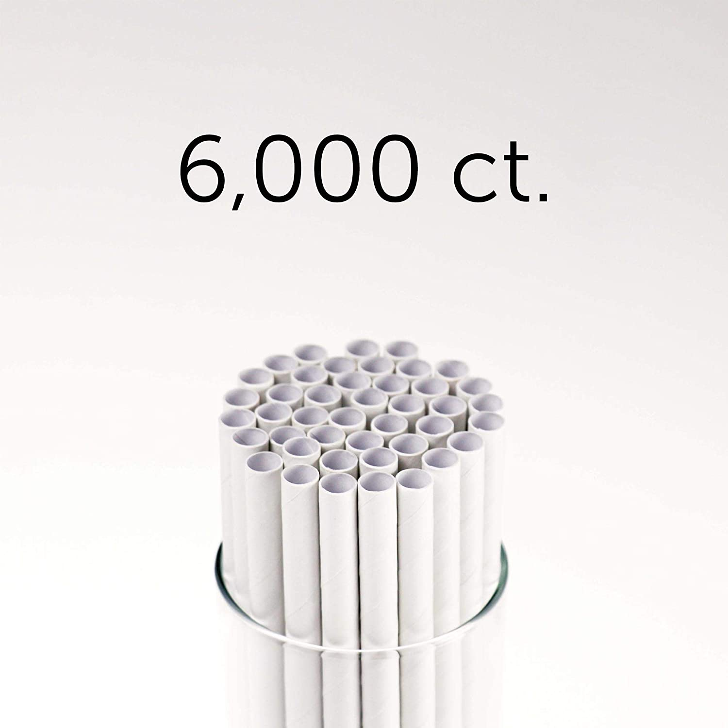 """Footprint Paper Straws - Giant 10"""" (6000ct) Unwrapped - Biodegradable, Premium Eco-Friendly Paper Straws in Bulk for Restaurants, Juices, Smoothies, White, Model Number: FPS-08-254-U-000"""