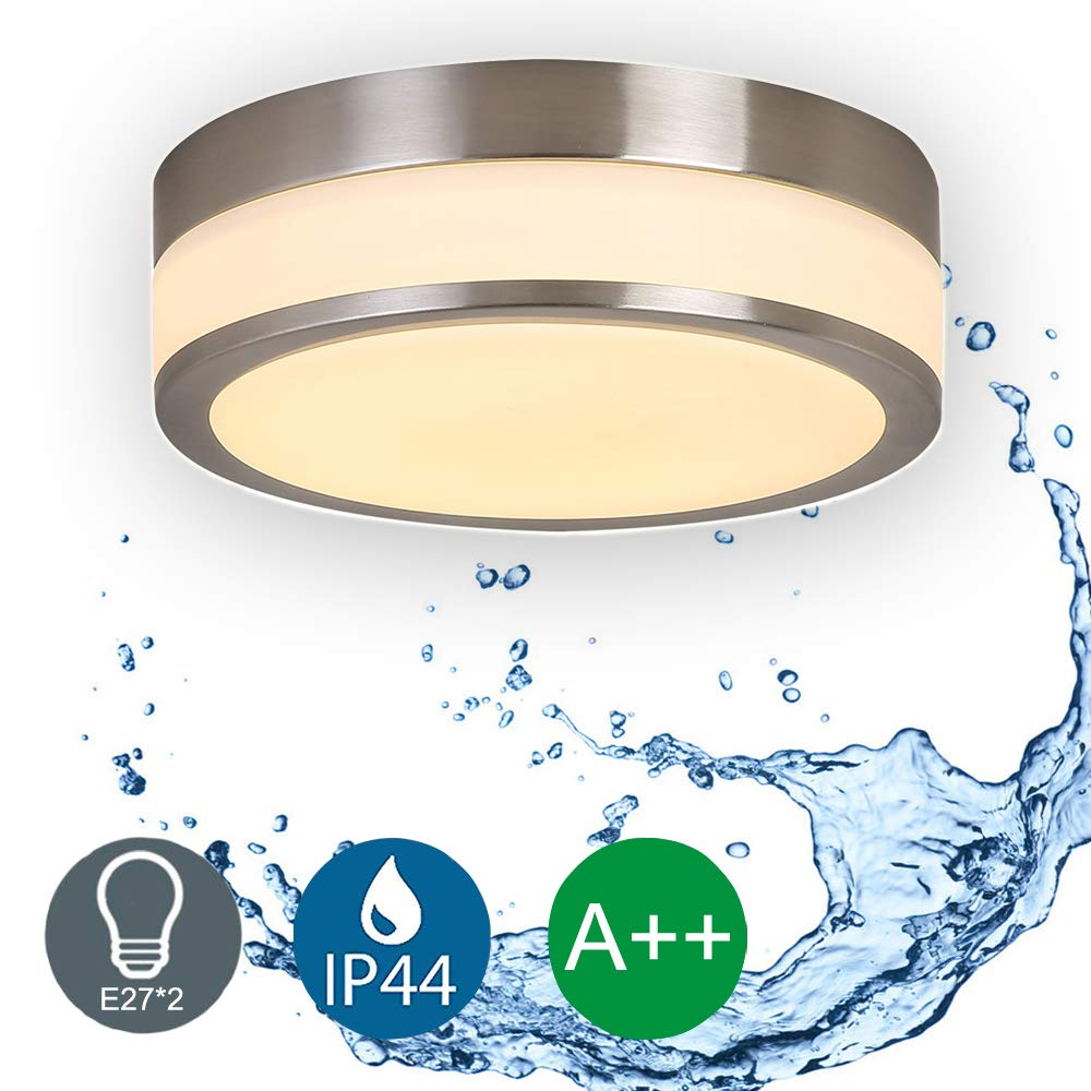 Round Chrome Bathroom Ceiling Bulkhead Light - IP44 Waterproof - Max 60 Watt E27*2 Socket with Frosted Opal Glass Diffuser Auen Lighting