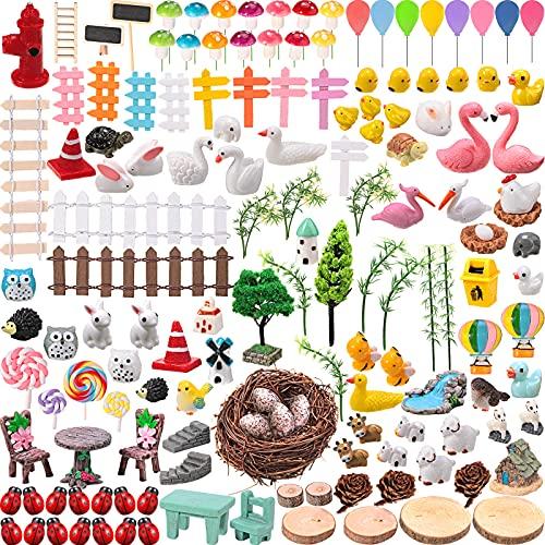 145 Pieces Miniature Fairy Garden Accessories Outdoor Decorations Mini Fairy Animal Figurines Miniature Moss Landscape…