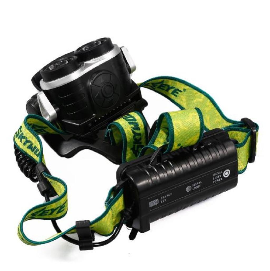 Sannysis Luz Linternas frontales 8000 L/úmenes 2 x CREE XM-L LED 6 Modos Al aire libre El montar en bicicleta 18650 l/ámpara