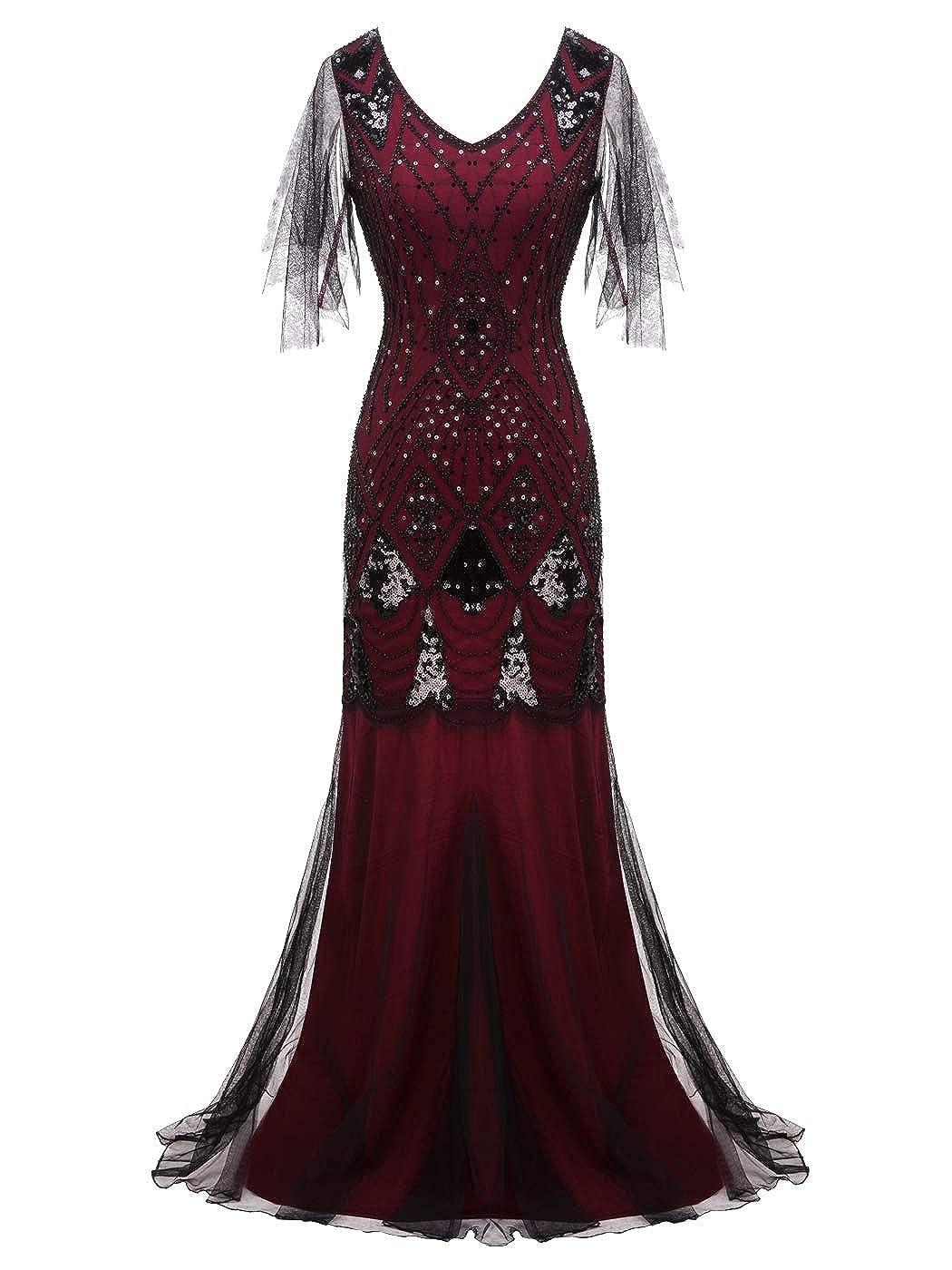 023burgundy Black FAIRY COUPLE 1920s FloorLength VBack Sequined Embellished Prom Evening Dress D20S004
