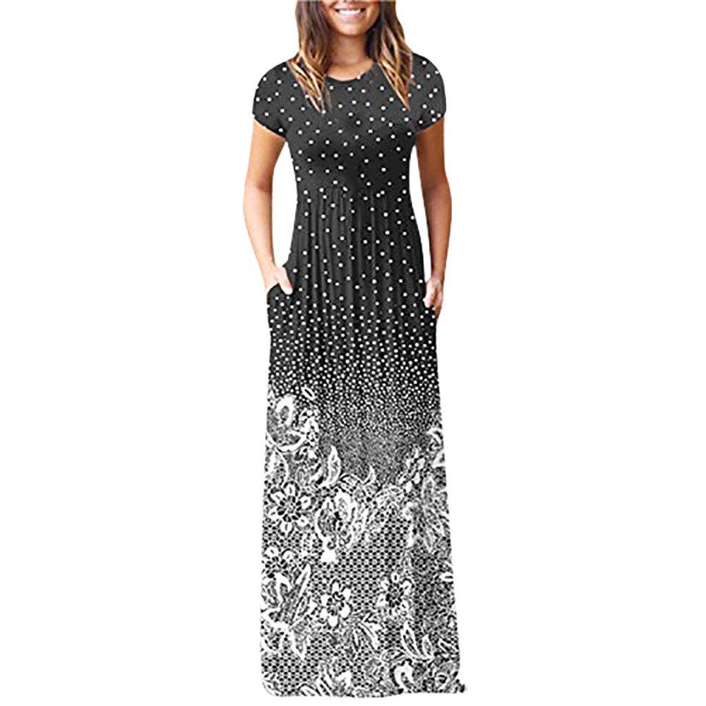 Fanyunhan Women's Casual Floral Dress Short Sleeve Maxi Dress Loose Long Dress with Pocket Black