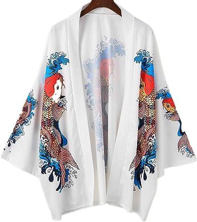 Hombre Mujer Camisa Kimono Hippie Cloak Estilo Japonés ...