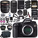 Canon EOS 5DS 5D S DSLR Camera + EF 24-70mm f/4L IS USM Lens + Canon EF 75-300mm III Lens + LPE-6 Lithium Ion Battery + External Rapid Charger + Sony 128GB SDXC Card Bundle