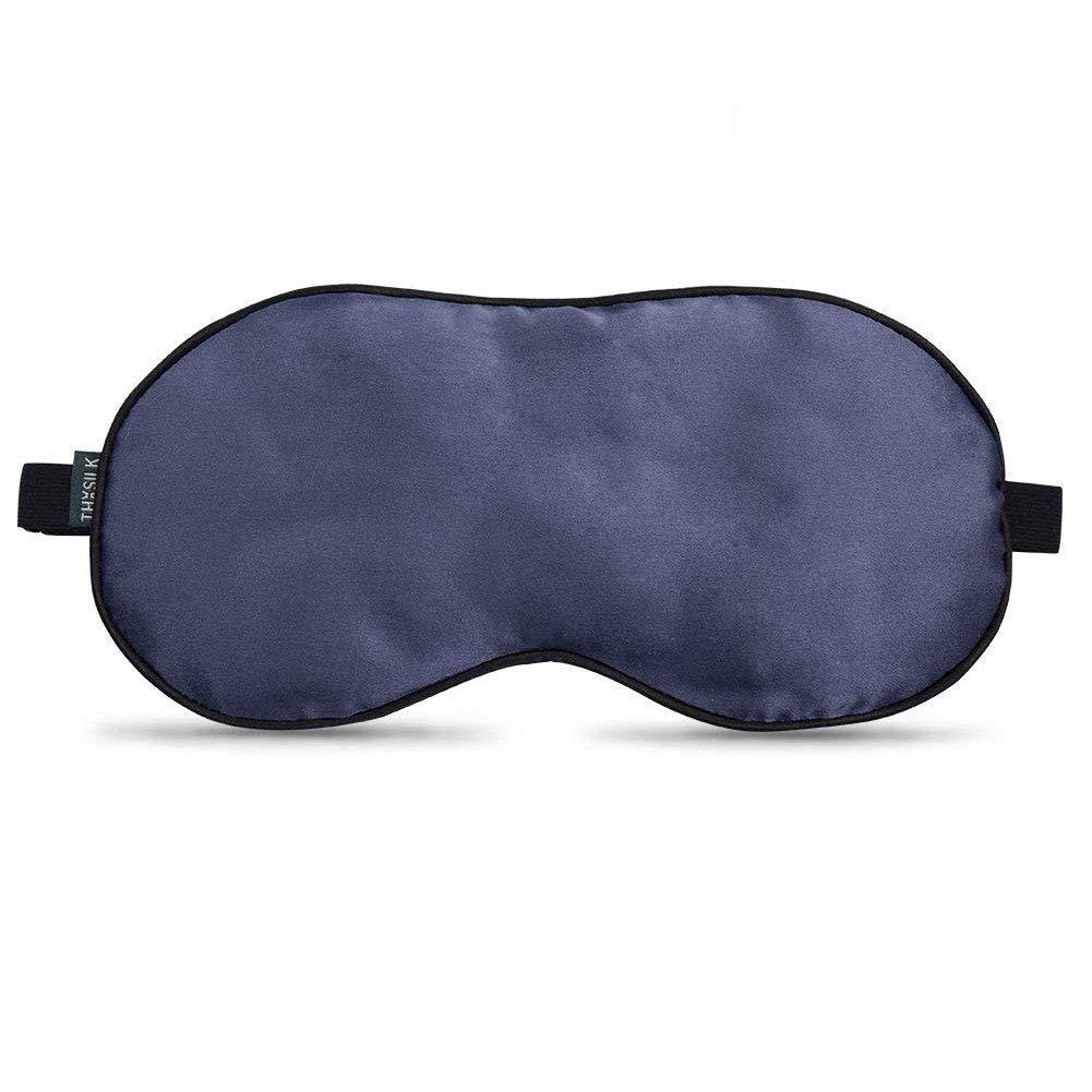 (Royal Blue + Black) - THXSILK 100% Silk Sleep Mask & Blindfold Perfect for Travel/Office, Eye Mask in Royal Blue and Black  Royal Blue + Black B01J32NL06