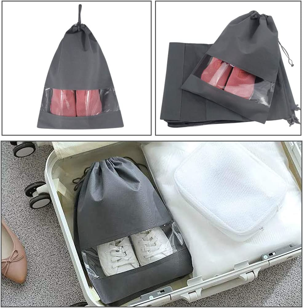Rainbow-Lee Portable Travel Shoe Bags Dustproof Shoe Organizer for Men and Women Water-Resistant Drawstring Space Saving Travel Shoes Storage Bags Pack of 10 Transparent Window