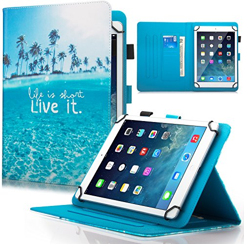 9.5-10.5 inch Universal iPad Case,Dteck Slim Fold Multi-angle PU Leather Magnetic Closure Case Cover [Cards/Money Slots] Flip Stand Wallet Protect Shell Case for All 9.5-10.5 inch Tablet,Beach Live it (Case Valuepad Tablet)
