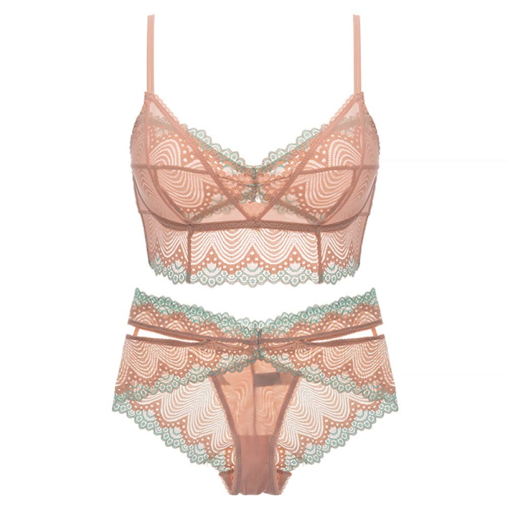 WoAiNiLiang Bra Brands lace Underwear Flower Rim lace Lingerie Set Ultra-Thin Bralette Bra Brief Sets Soft Comfortable Intimate Lingerie,Pink,70B by WoAiNiLiang