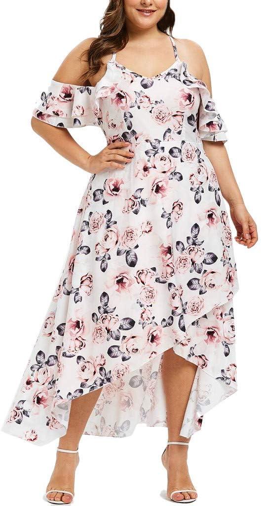 Dresses for Women Cold Shoulder Floral Print Maxi Dress V-Neck Plus Size Casual Irregular Hem Party Sundress