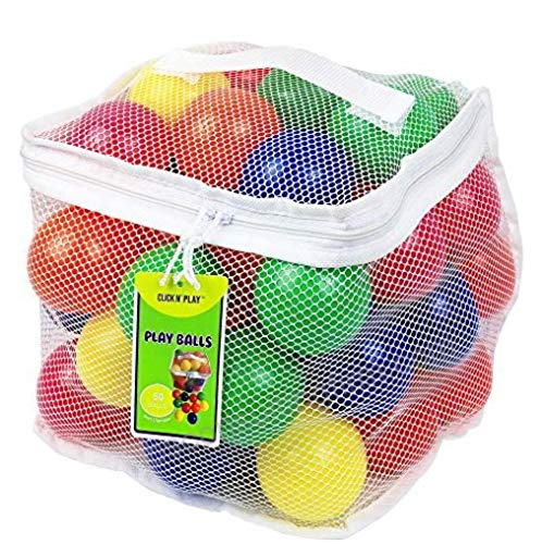 Click N' Play Pack of 50 Phthalate Free BPA Free Crush Proof Plastic Ball, Pit Balls - 6 Bright Colors in Reusable and Durable Storage Mesh Bag with Zipper ()