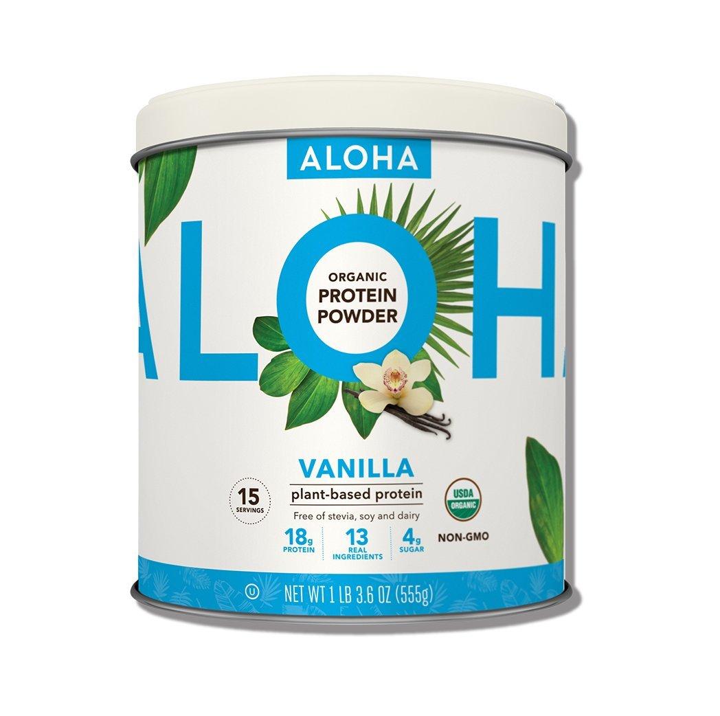 ALOHA Organic Plant Based Protein Powder, Stevia Free, Vanilla, 19.6 oz, 15 Servings